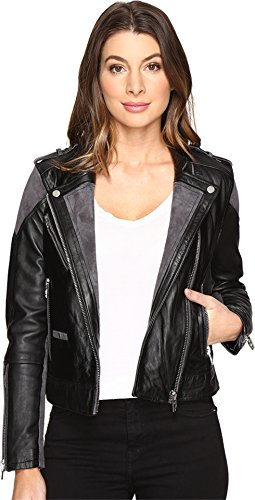Blank NYC Women's Real Leather/Suede Moto Jacket with Black and Grey Detail in Vices Vices Outerwear by [BLANKNYC]