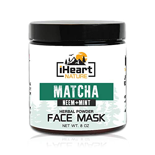 Green Tea Matcha Neem Mint Herbal Powder Cleansing Face Mask (Just Add Milk) Anti-Aging Detoxifying Skin Lightening (Natural Ayurvedic Organic French Clay Facial Mud Mask) Reduces Wrinkles and Pores
