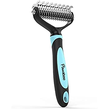 Pawaboo Pet Dematting Comb - Pet Grooming Comb with Dual Sided 9+17 Rake for Dogs and Cats Of All Sizes, Gently Removes Loose Undercoat, Mats, Tangles and Knots - Black & BLUE