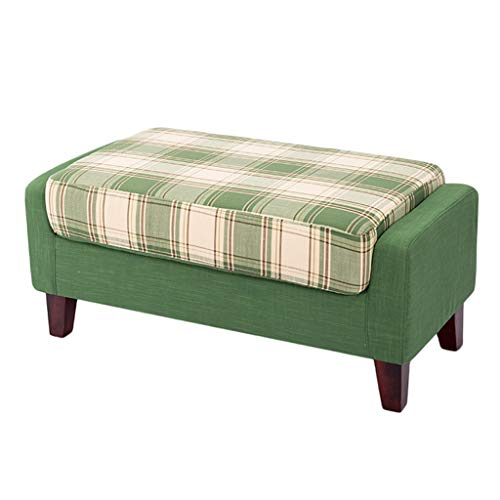 (Stool Fabric Sofa Stool Bed Front Bed Stool Footstool Cloakroom Fitting Room Fashion Idea 90cm45cm42cm ZHAOSHUNLI (Color : Green Plaid))