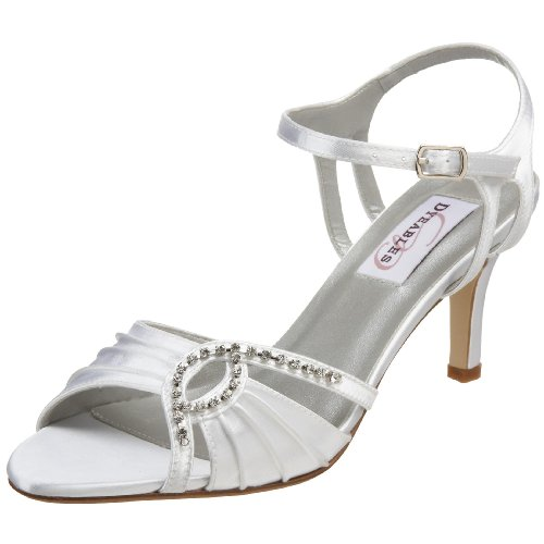 Dyeables Women's Ariana Ankle-Strap Sandal,White Satin,8.5 M US