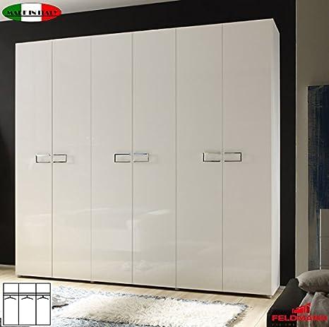 Armadio 555025 Camera da letto armadio 6 ante laccato lucido bianco ...