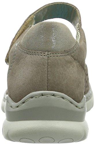 Rieker L3255 - Bailarinas de cuero para mujer gris - Grau (mineral/murmel / 44)