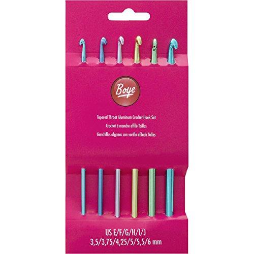 Price comparison product image Boye 6281 6-Piece Aluminum Crochet Bonus Hook Set,  Size Ranges E-J