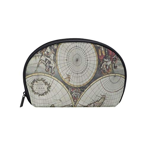- Cosmetic Bag Antique World Map Artwork Customized Shell Makeup Bags Organizer Portable Pouch for Women/Girls