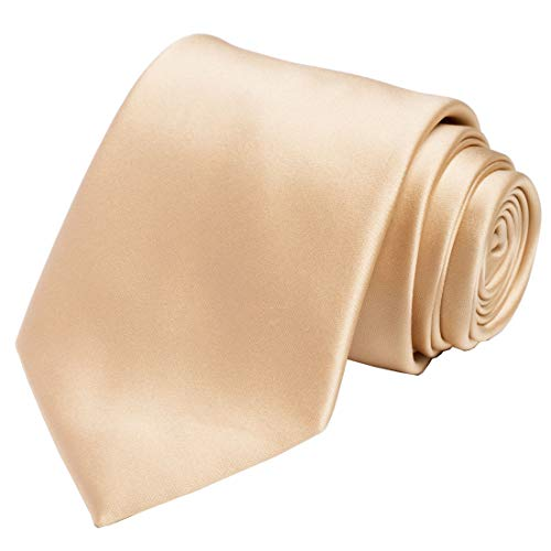 KissTies Mens Gold Tie Solid Golden Necktie + Gift - Handkerchief Color Necktie Gold