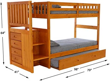 home, kitchen, furniture, bedroom furniture, beds, frames, bases,  beds 4 on sale Discovery World Furniture Mission Twin Over Twin Staircase deals