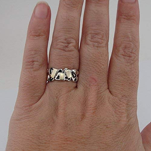 763b960e8 Image Unavailable. Image not available for. Color: Fine Ring, 9K Yellow Gold  and 925 Sterling Silver ...