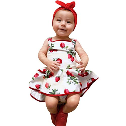 TIFENNY Cute Baby Girls Romper Princess Dress, Fashion Kids Strawberry Sleeveless Floral Print Clothes Dress (24M, White)