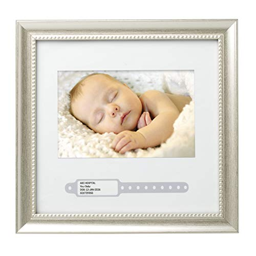 - Lil Peach Bracelet ID Keepsake Frame, Makes Perfect Nursery Décor, Gift for New Parents, or Addition to Baby Registry, Silver