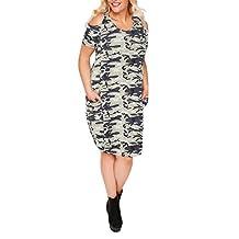HaoDuoYi Women's Camo Print Cold Shoulder Round Neckline Midi Dress
