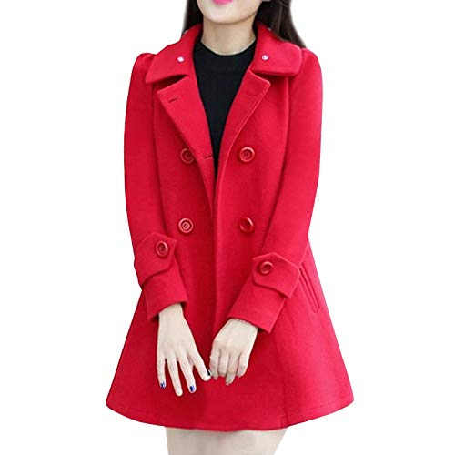 Fur Collar Casual Outwear Womens Warm Jacket Parka Cardigan Slim Coat Overcoat Red