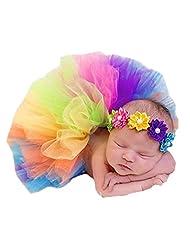 MeQi Newborn Baby Rainbow Tutu Skirt Photo Prop Costume with Headband