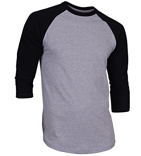 DREAM USA Men's Casual 3/4 Sleeve Baseball Tshirt Raglan Jersey Shirt H Gray/Black Medium ()