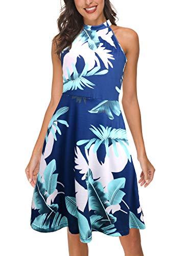 FANVOOK Dress for Womens Summer Tank Halter Neck Casual A-line Dresses with Pockets (Blue-2, Medium)