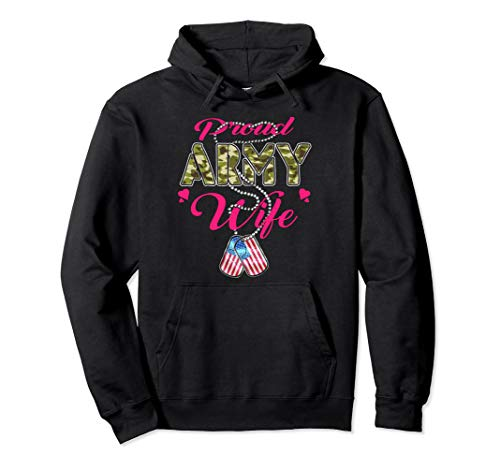 Proud Army Wife Hoodie US Dog Tag Pride Military Spouse Gift