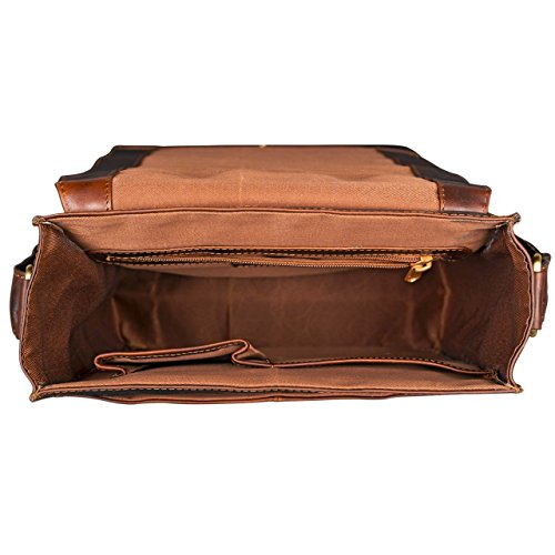 STILORD 'Lars' Vintage Bolso Mensajero de piel para MacBook 13,3 pulgada Hombres Mujeres Trabajo Borsa de cuero auténtico, Color:cognac marrón oscuro cognac marrón oscuro