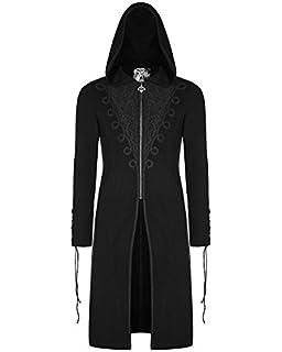 33f6ace4abbd Punk Rave mens-gotik Kapuzenpulli schwarze lange Jacke mit Kapuze  Dieselpunk Jacquard VTG