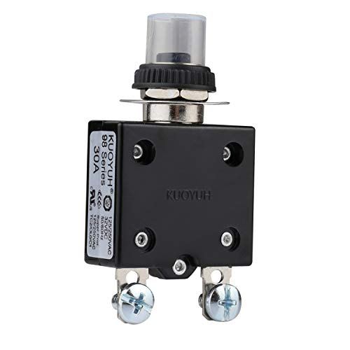 DIYhz Thermal Circuit Breaker,98 Series 30A 125/250VAC 32VDC Bottom Screw Thermal Overload Circuit Breaker Push-Button Reset with Quick Connect Terminals and Waterproof Button Cover - 30 Amp, 1 Pcs ()