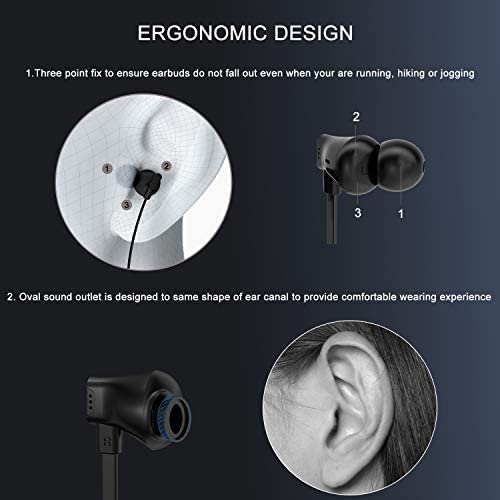 Vogek Earbuds, Tangle-Free Flat Cord Ergonomic in-Ear Headphones with Dynamic Crystal Clear Sound, Earphones with 3.5mm Jack, S/M/L Eartips Compatible with Samsung, Android Phone and More-Black 41vE5fseZvL