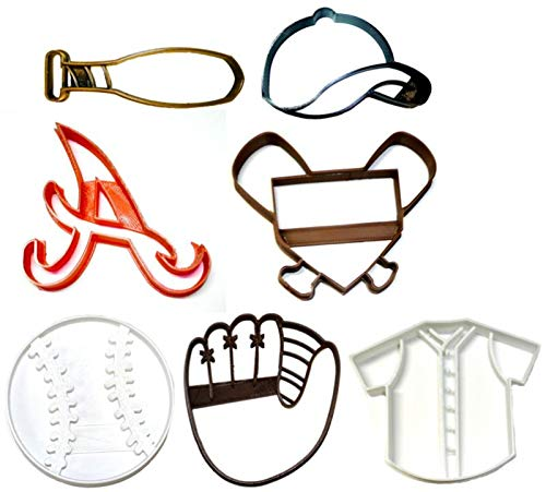 ATLANTA BRAVES MLB TEAM A LOGO BASEBALL MITT CAP BAT JERSEY HOME PLATE AMERICAN BALL SET OF 7 SPECIAL OCCASION COOKIE CUTTER BAKING TOOL 3D PRINTED MADE IN USA PR1233