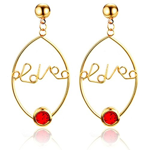 Price comparison product image Hoop Earrings, Caopixx 1 Pair Lady Women Thin Round Big Large LOVE Hollow Dangle Loop Earring 2018 (Red,  alloy)