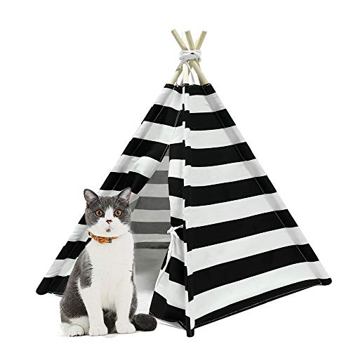RSFZ Pet Teepee for Cats Dogs Rabbits- Indoor or Outdoor Portable Pet Tents House with Floor, 24inch Tall for Pets up to 18Lbs