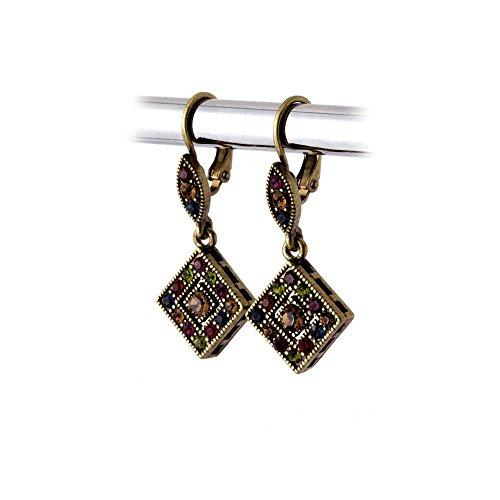 Nouveau Brass Chandelier - Antiqued Gold Jeweltone Austrian Crystal Leverback Earrings