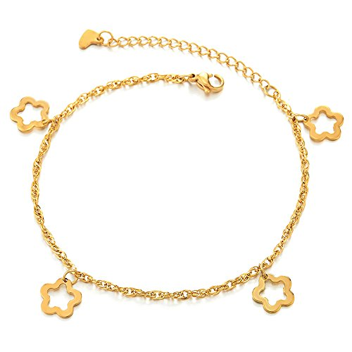 COOLSTEELANDBEYOND Stainless Steel Gold Color Anklet Bracelet with Dangling Charms of Flowers and Heart Dangling Flower Charm