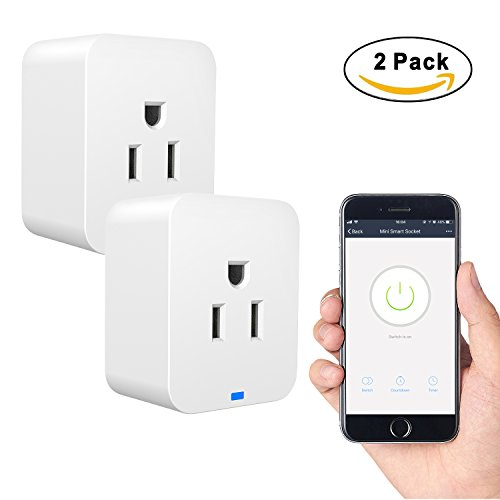 - 2 Pack WiFi Plug, Mini Smart WiFi Outlet Works with Voice Activated Alexa Echo and Google Home Assistant, Remote Control Compatible with iOS/Android Smart Phones/Tablets