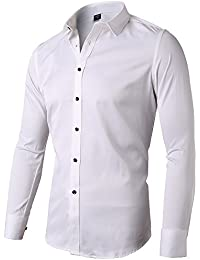 Mens Dress Shirt Slim Fit Long Sleeves Elastic Bamboo Fiber Button Down Shirts