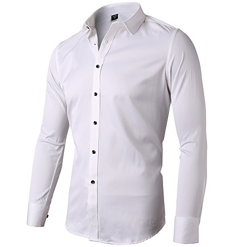 Mens Fiber Casual Button Up Slim Fit Collared Formal Shirts, White, 15