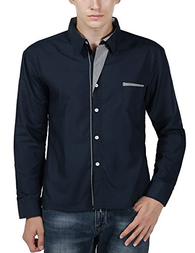 XI PENG Men's Casual Button Down Long Sleeve Striped-Trim Slim Fit Collared Dress Shirts (X-Large, Navy Blue) by XI PENG (Image #2)