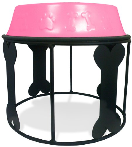 Platinum Pets 6.25 Cup Single Bones and Stripes Diner Stand with Pink No-Tip Embossed Bowl, My Pet Supplies
