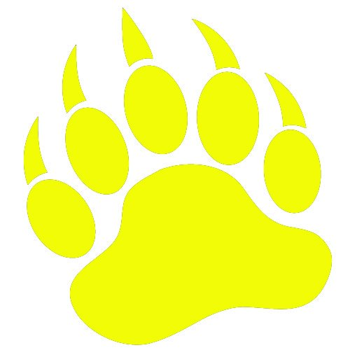 Grizzly Bear Paw Print 5 Quot Yellow Vinyl Decal Window