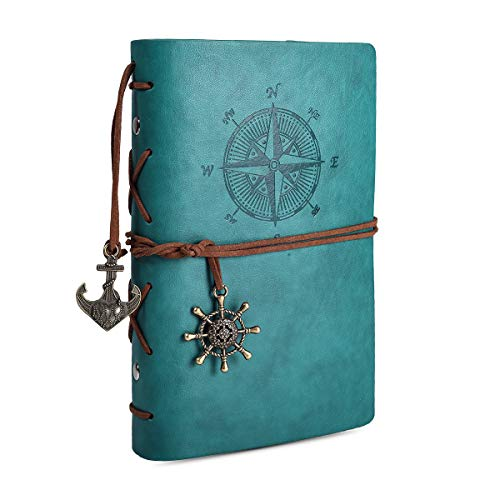 Leather Writing Journal Notebook, 7 Inches Vintage Nautical Spiral Notebook Refillable Diary Sketchbook Travel Journals to Write in, Blank Pages, Classic Embossed, Retro Pendants (Sky -