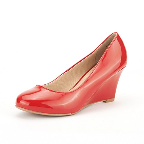 Sogno Coppie Wedgy Donna Elegante Punta A Punta Tacco Medio Con Zeppa Pumps Slip On Shoes Wedgy-red-pat