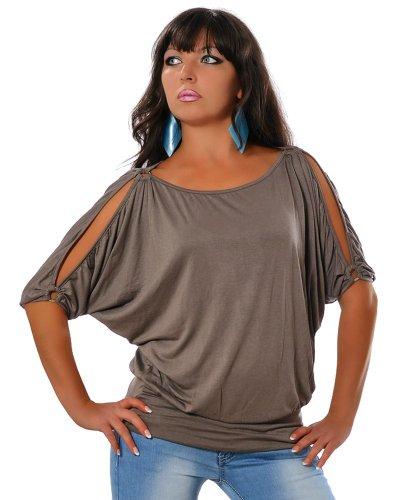 Damen Casual Tunika Longshirt Bluse (weitere Farben) No 12643, Farbe:Khaki;Größe Blusen Tuniken Top Shirt:One Size