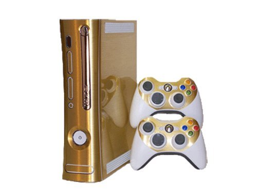 Microsoft Xbox 360 Skin (1st Gen) - NEW - BRUSHED GOLD system skins faceplate decal mod (Gen 360 Xbox 1st Skins Console)