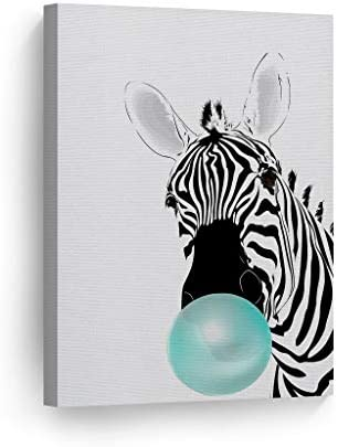 Smile Art Design Zebra Animal Bubble Gum Art Teal Blue Chewing Gum Canvas Print Black and White Wall Art Home Decoration Pop Art Living Room Kids Room Decor Nursery Ready to Hang Made