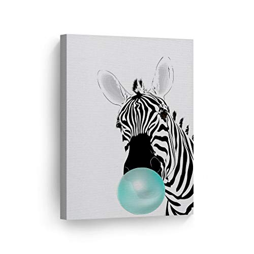 (Zebra Animal Bubble Gum Art Teal Blue Chewing Gum Canvas Print Black and White Wall Art Home Decoration Pop Art Living Room Kids Room Decor Nursery Ready to Hang-%100 Handmade in USA - 12x8)