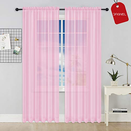 KEQIAOSUOCAI Set of 2 Rod Pocket Sheer Window Curtains-Each Panel 52