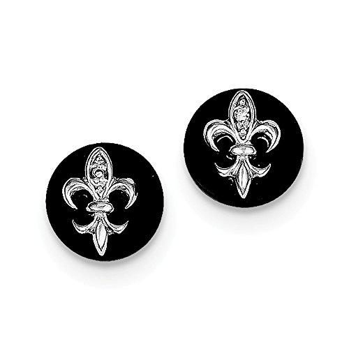 925 Sterling Silver Cubic Zirconia Fleur De Lis On Simulated Onyx Circle Stud Earrings (9mm x 9mm)