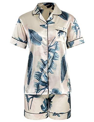 Women Floral Print Silky Button Sleepwear Stylish Pyjamas Set as Gifts(Beige,XS)