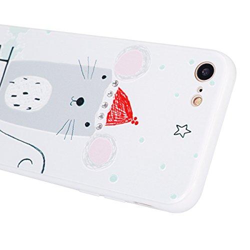 Funda para iPhone 7 plus, Ukayfe Suave Carcasa Caso Parachoques Diseño pintado Patrón para iPhone 7 plus,Funda Case Lujo Premium Bling Caja PC Dura Ultra Fina Cubierta Matt Glitter Protectora Caja Shi Ratón