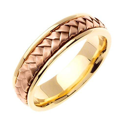 JDBands 14K Two Tone Solid Gold Hand Braided Wedding Ring Band for Men (Sizes 9-14)