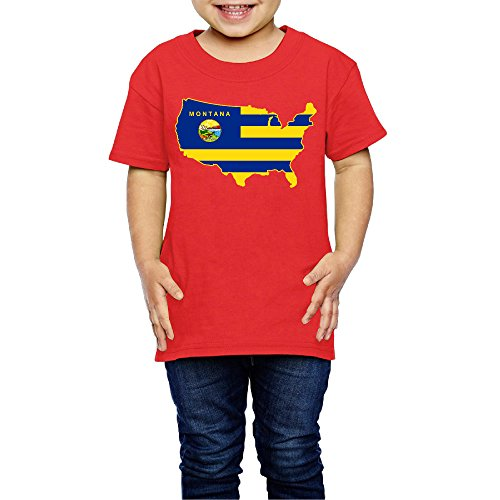 Price comparison product image 2-6 Toddler Little Girl's Flag Of Montana USA Map Cute Short-sleeve Tee Red