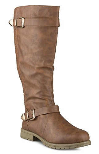 Twisted Women's AMIRA Wide Width/Wide Calf Faux Leather Knee-High Quilted Boot with Multi Buckle Straps - COGNAC, Size (Womens Wide Calf Boots Cheap)