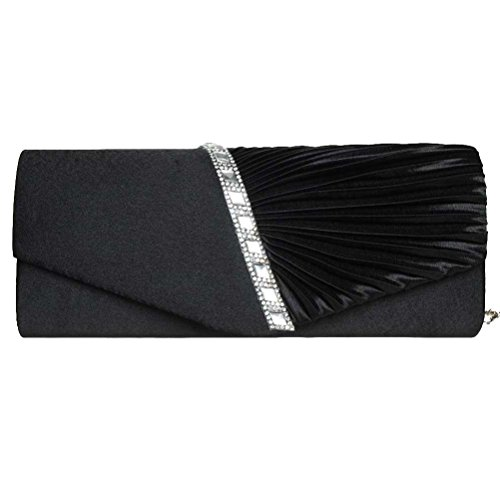 h Womens Pleated Crystal Clutch Purse For Wedding And Party Black (White Suede Rhinestone)