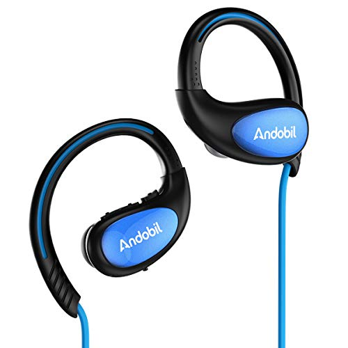 Andobil Bluetooth Headphones, Best Wireless Sports Earphones with Mic Waterproof Richer Bass HiFi Stereo in Ear Earbuds for Gym Running, 8 Hrs Playback Noise Cancelling Headsets (Comfy & Fast Pairing)